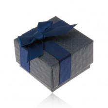 Gift box for ring, pendant and earrings, dark blue colour, bow