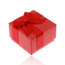 Red gift box for ring, pendant or earrings, shiny bow