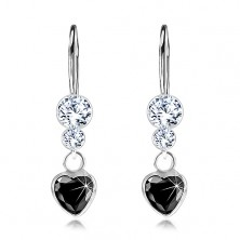 925 silver earrings, black zircon heart, clear Swarovski crystals