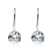 Earrings with clear cut zircon, 925 silver, hooks