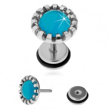 Steel fake ear plug, synthetic stone - cat's eye in light blue colour
