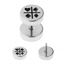 Steel fake ear plug in silver colour, black card symbols