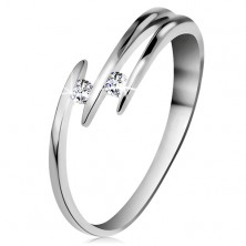 Brilliant ring made of white 14K gold - two glossy clear diamonds, thin lines of shoulders