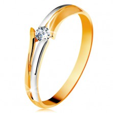 Diamond 585 gold ring, sparkly clear brilliant, split bicoloured shoulders