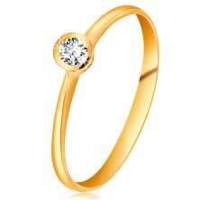 Ring made of yellow 14K gold - glistening clear brilliant in shiny mount, narrowed shoulders