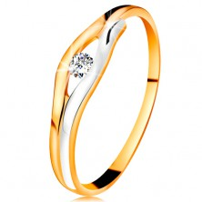 Brilliant ring made of 14K gold - diamond in narrow cut-out, bicoloured lines