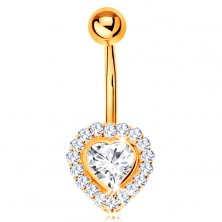 Bellybutton piercing made of yellow 9K gold - clear zircon heart lined with zircons