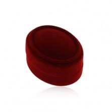 Oval claret box for earrings, pendant or two rings, velvet surface