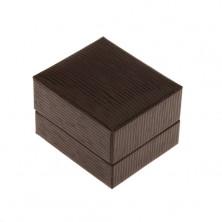 Gift box for ring, pendant or earrings, dark brown colour, stripes