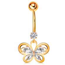Bellybutton piercing made of yellow 14K gold - butterfly contour with clear zircons