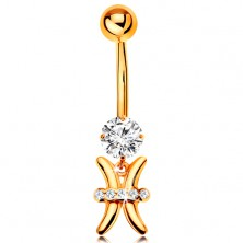 375 gold piercing for belly - clear zircon, shiny zodiac sign symbol - PISCES
