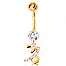 Piercing for belly made of yellow 9K gold - clear zircon, zodiac sign - CAPRICORN