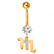 Bellybutton piercing made of yellow 375 gold - clear zircon, symbol of zodiac sign - SCORPIO