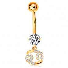 9K gold piercing for belly - clear zircon, sparkly symbol of zodiac sign - CANCER