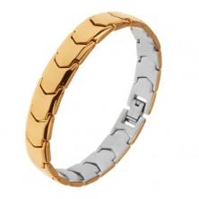 Steel bracelet, shiny mirror-like surface, Y - links, gold colour