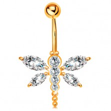 Piercing for belly made of yellow 14K gold - clear zircon dragonfly, banana with ball