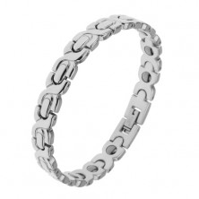 Rhodium plated bracelet made of 316L steel in silver colour, X-links and ovals, magnetic
