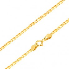 Chain made of yellow 14K gold - connected oval links, flattened, 490 mm