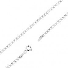 Rhodium-plated gold chain 585 - flat oval links, tiny notches, 490 mm