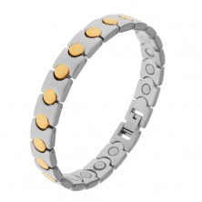 Bicolored bracelet made of surgical steel, circle in gold hue, magnets