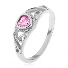 Children's ring made of 316L steel, pink zircon heart, split shoulders with ornaments
