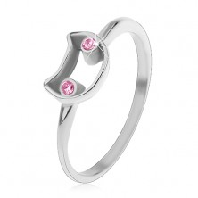 Steel ring for children, narrow shoulders, contour of cat with light pink eyes