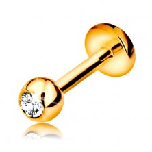 Piercing made of yellow 9K gold - for lip, chin and above the lip, ball with thread, 6 mm