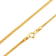Yellow gold chain 14K, structured snake pattern, round cross-section, 450 mm