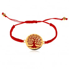 Bracelet made of red strings, round pendant with red tree
