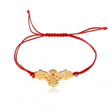 String bracelet in red hue, three connected hands of Fatima, clear zircons