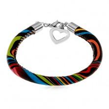 Black leatherette bracelet with asymmetric coloured lines, heart