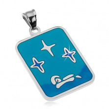 Pendant made of 316L steel, glaze in shades of blue colour, stars and boat