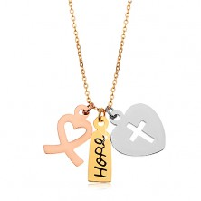 Necklace made of surgical steel, tricoloured pendants - two heart and inscription Hope