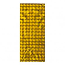 Shiny cellophane bag for gift, gold hue, glossy squares