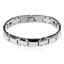 Rhodium plated bracelet made of 316L steel in silver colour, shiny smooth links, magnets