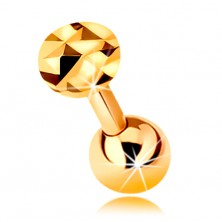 9K gold ear piercing - shiny straight barbell with ball and glistening circle, 5 mm