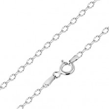 Shiny chain made of white 14K gold, oval links with tiny notches, 450 mm