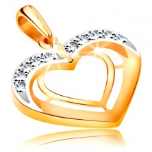Pendant made of 14K gold - two heart contours in bicoloured version, zircons