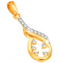 585 gold pendant - asymmetric teardrop contour, wave made of white gold, clear zircons