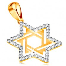 585 gold pendant - Star of David decorated with clear zircons and cutouts