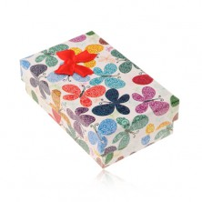 Coloured box for set or chain, pattern of butterflies with ornaments, bow