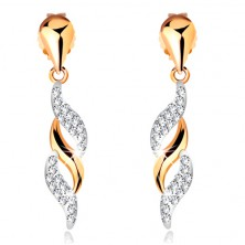 585 gold earrings - glossy waves dangling on shiny drop, Swarovski crystals