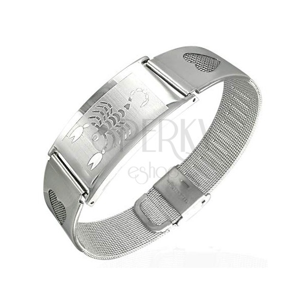 Surgical steel bracelet with scorpion and hearts