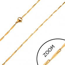 Chain made of 316L steel, bevelled angular links in gold colour, 1,5 mm
