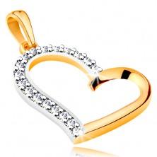 Pendant made of 14K gold - asymmetric heart contour with zircon half