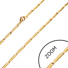 Steel chain in gold hue, shiny elongated rolls, 3 mm
