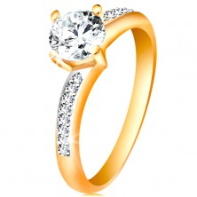 Ring made of 14K gold - sparkly round zircon in clear colour, zircon shoulders