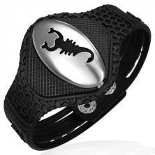 Rubber bracelet - scorpion on oval tag