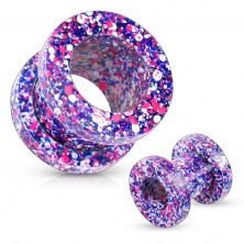 Ear tunnel made of 316L steel, spattered with violet, pink, blue and white colour