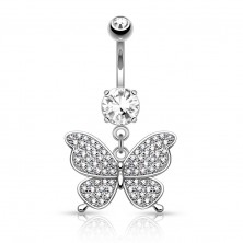 Steel bellybutton piercing in silver colour, glossy butterfly, clear zircons